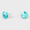 Small Light Turquoise  Round Crystal Stud Earrings | 8 mm