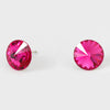 Fuchsia Small Round Crystal Stud Earrings | 10mm = 0.39""