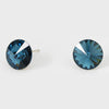 Navy Small Round Crystal Stud Earrings | 10mm = 0.39""