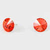 Coral Small Round Crystal Stud Earrings | 10mm = 0.39""