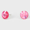 Pink Small Round Crystal Stud Earrings | 10mm = 0.39""
