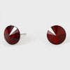 Dark Red Small Round Crystal Stud Earrings | 10mm = 0.39"