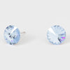 Light Blue Small Round Crystal Stud Earrings | 15mm = 0.59""