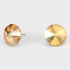 Gold Small Round Crystal Stud Earrings | 15mm = 0.59""