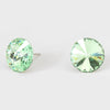 Light Green Small Round Crystal Stud Earrings | 15mm = 0.59""
