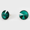 Emerald Small Round Crystal Stud Earrings | 15mm = 0.59""