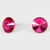 Fuchsia Small Round Crystal Stud Earrings | 15mm = 0.59""