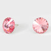 Light Rose Small Round Crystal Stud Earrings | 15mm = 0.59"