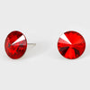 Red Small Round Crystal Stud Earrings | 15mm = 0.59""
