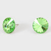 Peridot Small Round Crystal Stud Earrings | 15mm = 0.59""