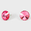 Pink Small Round Crystal Stud Earrings | 15mm = 0.59"