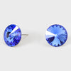 Sapphire Small Round Crystal Stud Earrings | 15mm = 0.59""