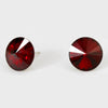 Dark Red Small Round Crystal Stud Earrings | 15mm = 0.59""