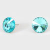 Light Turquoise Small Round Crystal Stud Earrings | 15mm = 0.59""
