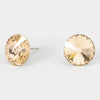 Topaz Small Round Crystal Stud Earrings | 15mm = 0.59""