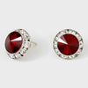 Dark Red Austrian Crystal Round Stud Earrings