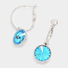 Small Aqua Austrian Crystal Dangle Earrings