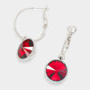 Small Red Austrian Crystal Dangle Earrings