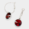 Small Dark Red Austrian Crystal Dangle Earrings