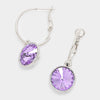 Small Violet Austrian Crystal Dangle Earrings