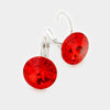"Small Red Genuine Austrian Crystal Drop Earrings | 0.6"" x 0.8"""