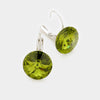"Small Green Genuine Austrian Crystal Drop Earrings | 0.6"" x 0.8"""