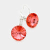 "Small Coral Genuine Austrian Crystal Drop Earrings | 0.6"" x 0.8"""