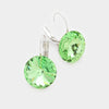 "Small Light Green Genuine Austrian Crystal Drop Earrings | 0.6"" x 0.8"""