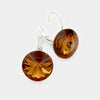 "Small Smoked Topaz Genuine Austrian Crystal Drop Earrings | 0.6"" x 0.8"""