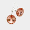 "Small Brown Genuine Austrian Crystal Drop Earrings | 0.6"" x 0.8"""