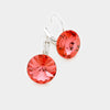 "Small Coral Genuine Austrian Crystal Drop Earrings | 0.4"" x 0.8"" 