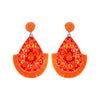 Orange Beaded Flower Tassel Drop Fun Fashion Earrings