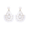 White Beaded Flower Tassel Drop Fun Fashion Earrings