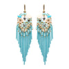 Aqua Chain and Bead Fun Fashion Chandelier Earrings