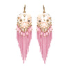 Pink Chain and Bead Fun Fashion Chandelier Earrings