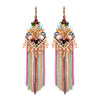Multi-Color Chain and Bead Fun Fashion Chandelier Earrings