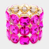 Three Row Fuchsia Crystal Round Stretch Bracelet on Gold | 436854