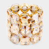 Three Row Gold Crystal Round Stretch Bracelet