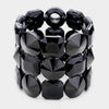 Three Row Black Crystal Round Stretch Bracelet