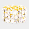 Clear Crystal Stretch Pageant Bracelet on Gold