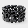 Black Crystal Stretch Pageant Bracelet