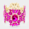 Wide Fuchsia Crystal Rhinestone Stretch Bracelet