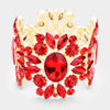 Wide Red Crystal Rhinestone Stretch Bracelet | 438479