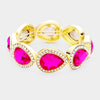 Rhinestone Trim Fuchsia Teardrop Crystal Stretch Pageant Bracelet on Gold