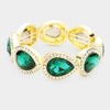 Rhinestone Trim Green Teardrop Crystal Stretch Pageant Bracelet on Gold