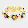 Rhinestone Trim Multi-Color Teardrop Crystal Stretch Pageant Bracelet on Gold