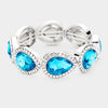 Rhinestone Trim Teal Teardrop Crystal Stretch Pageant Bracelet