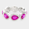 Rhinestone Trim Purple Teardrop Crystal Stretch Pageant Bracelet | 425201