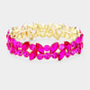 Fuchsia Crystal Marquis Stone Pageant Bracelet on Gold | Prom Bracelet