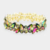 Multi-Color Crystal Marquis Stone Pageant Bracelet on Gold | Prom Bracelet